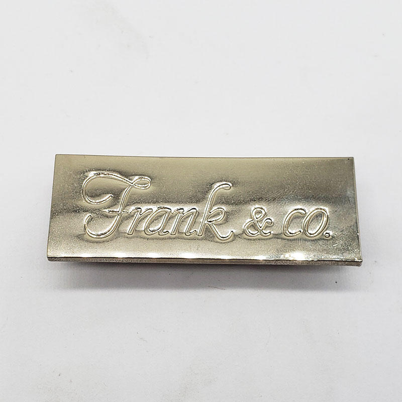 MedalsTech custom factory custom stainless steel silver nameplate with u shape pins