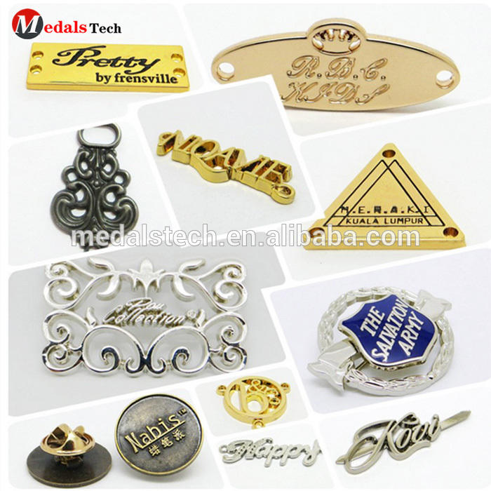 Wholesale custom fashion design brand engraved metal logo label tag for handbags