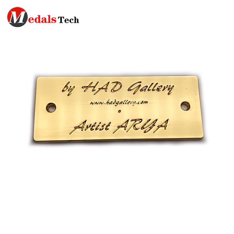 Fashion custom gold engraved logo mini metal brand label