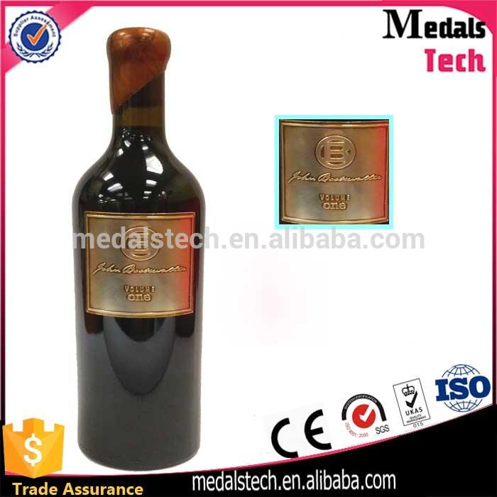 Top selling 3D embossed logo France wine bottle metal label with 3m sticker
