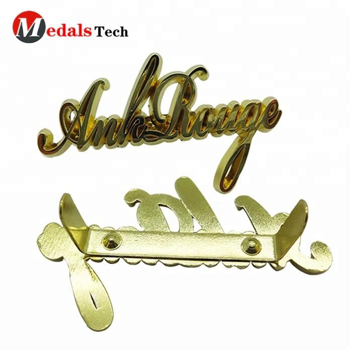 Custom embossed brass gold silver souvenir metal name plate logo