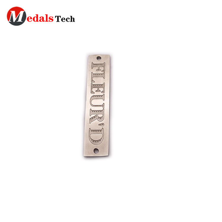 Chinese factory engraved logo mini stainless steelmetal plate for bag