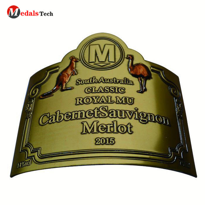 Professional custom bronze plating embossed logo wine beer champagne bottle nameplate