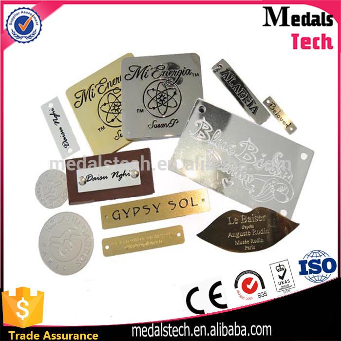 Wholesale custom logo metal plaque custom metal logo name plaque for handbags