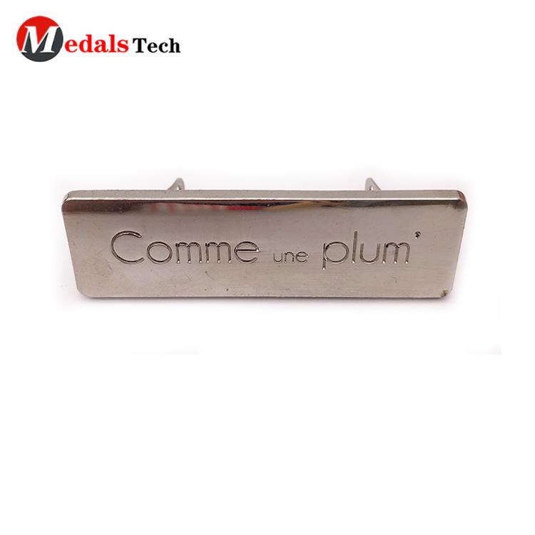 High quality custom logo blank handbag silver metal small plates