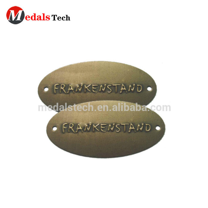 Wholesale antique metal etching brass logo sticker name plate oval antique brass tags