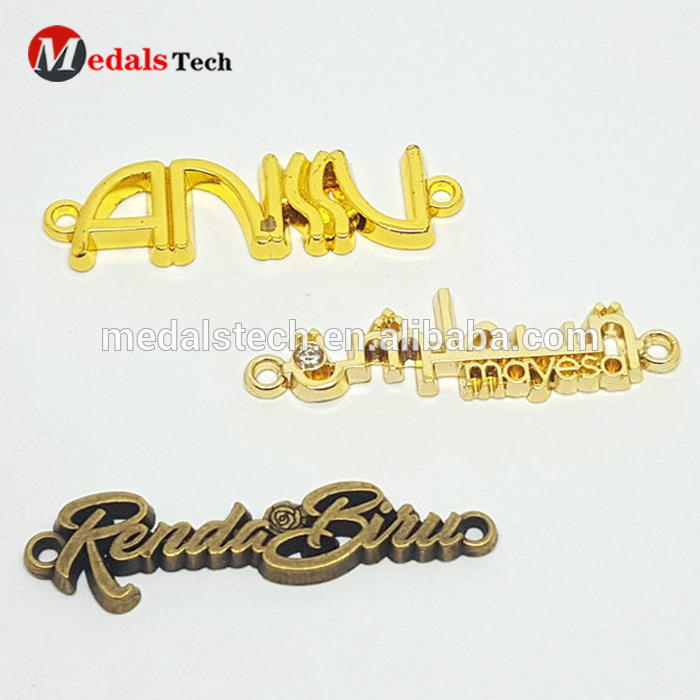 Fashion Custom Gold Letters Metal Logo Label For Handbag