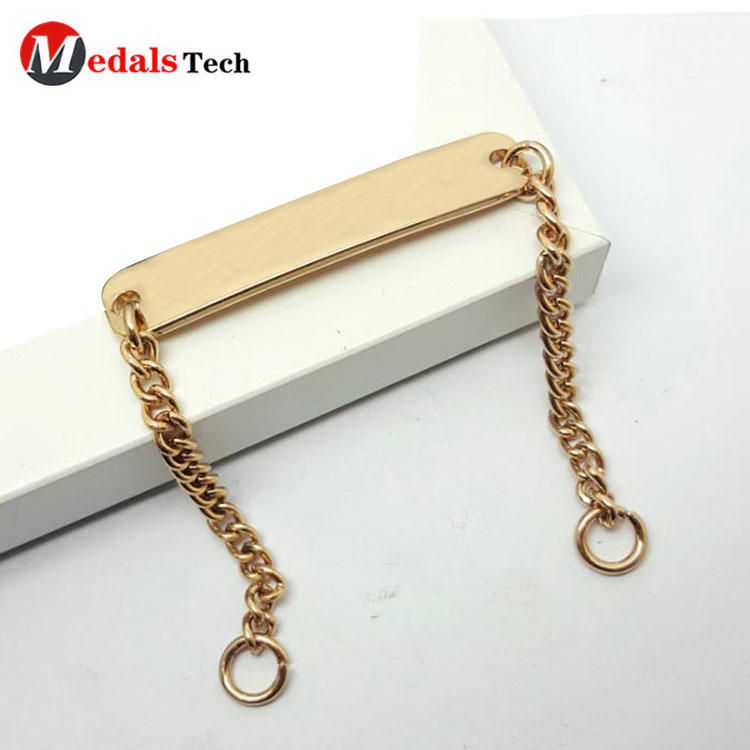 Supplier china custom metal brass necklace chain decoration clothing labelsforcoat/swimwear