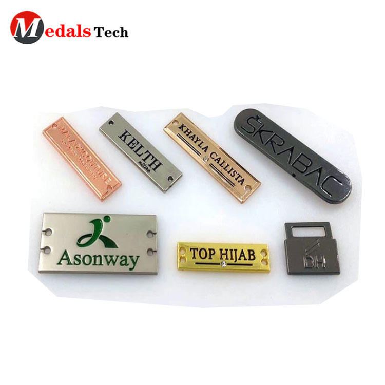 2-holes custom embossing sew small logo tag metal label for clothes/shoes