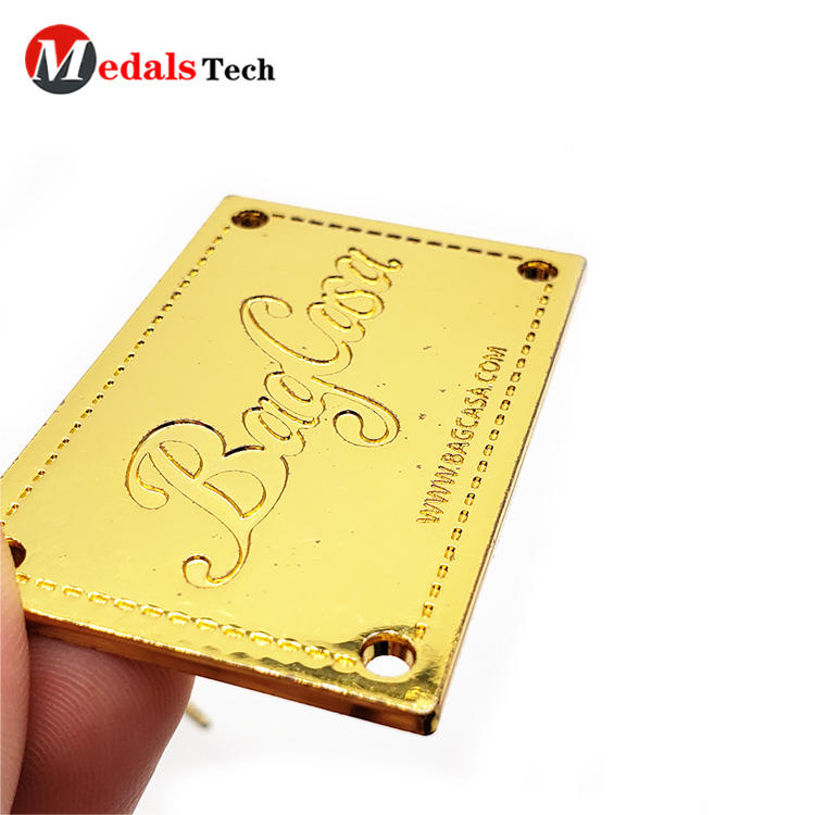 Wholesale custom zinc alloy recessed logo gold plating nameplate