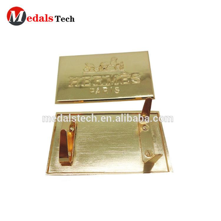 Gold plated quality custom metal logo label nameplate for handbag,pouch bag