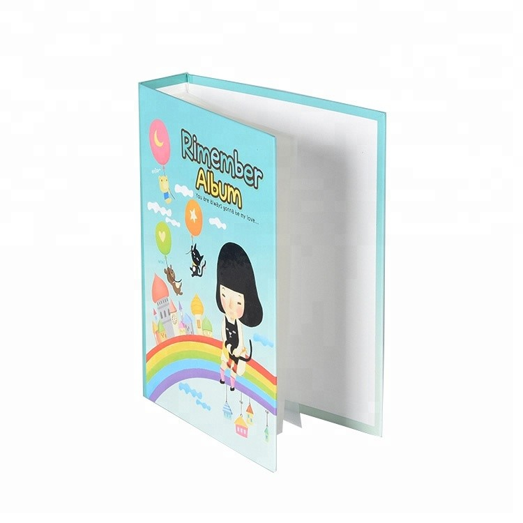 Hardcover Customized Logo cardboard cover photo album with clear pockets