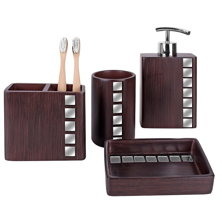 Wooden Design Toothbrush Holder Polyresin Bathroom Accessories Set