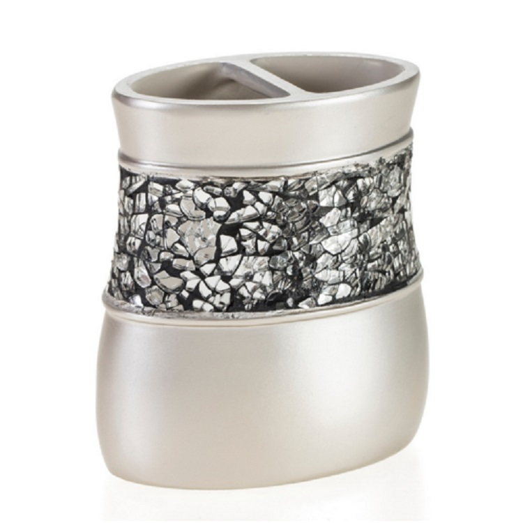 Silver Color With Mosaic Resin Bathroom Set of Tooth brush holder