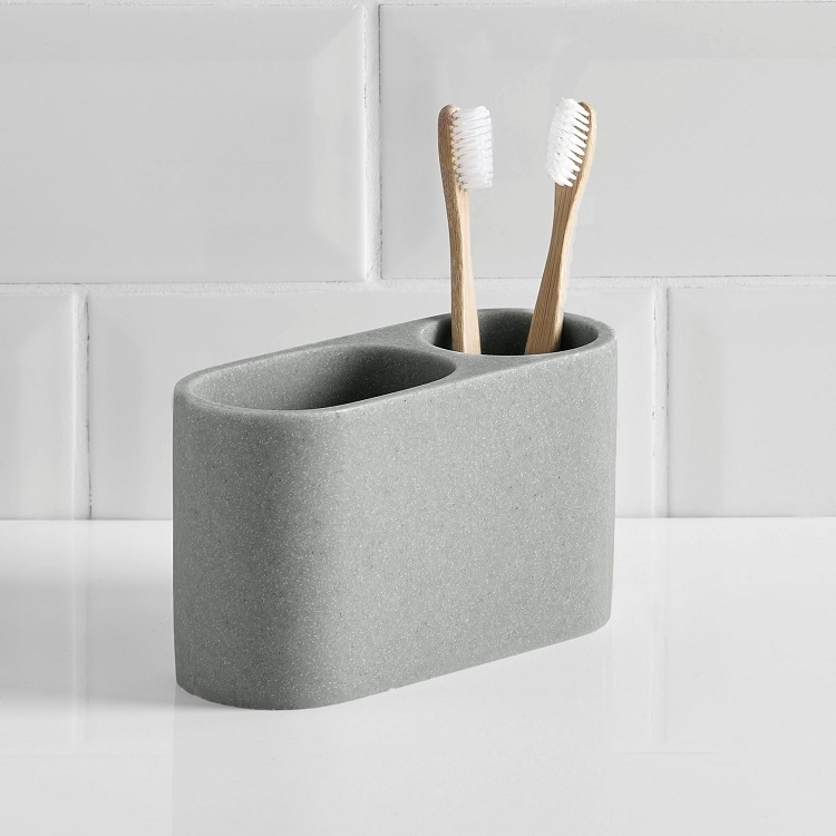High Quality Smooth Grey Sand Resin Bathroom Tooth Brush Holder