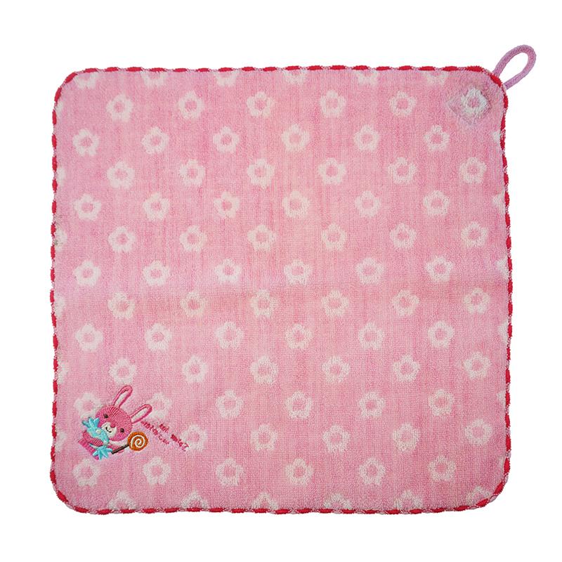 custom logo embroidery soft jacquard cotton baby kids hand towel hanging handkerchief China manufacturer