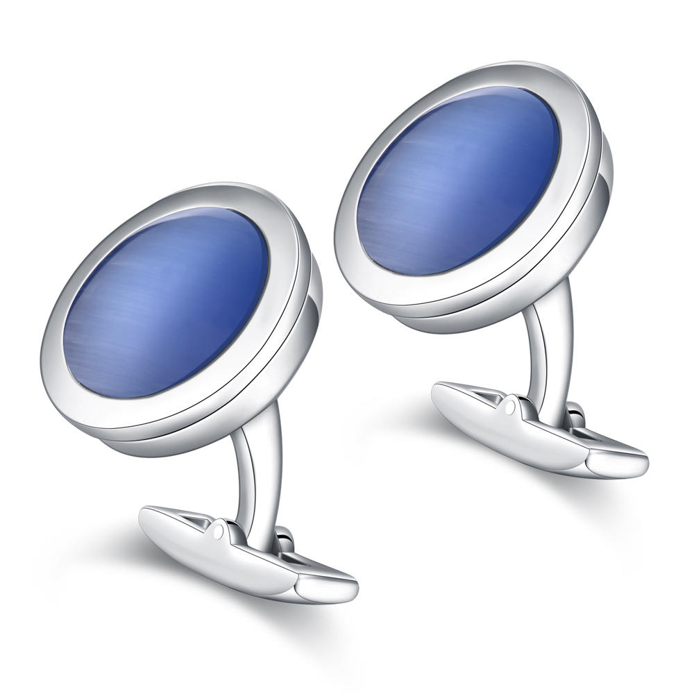 Round shape stainless steel blue shell cufflinks for men