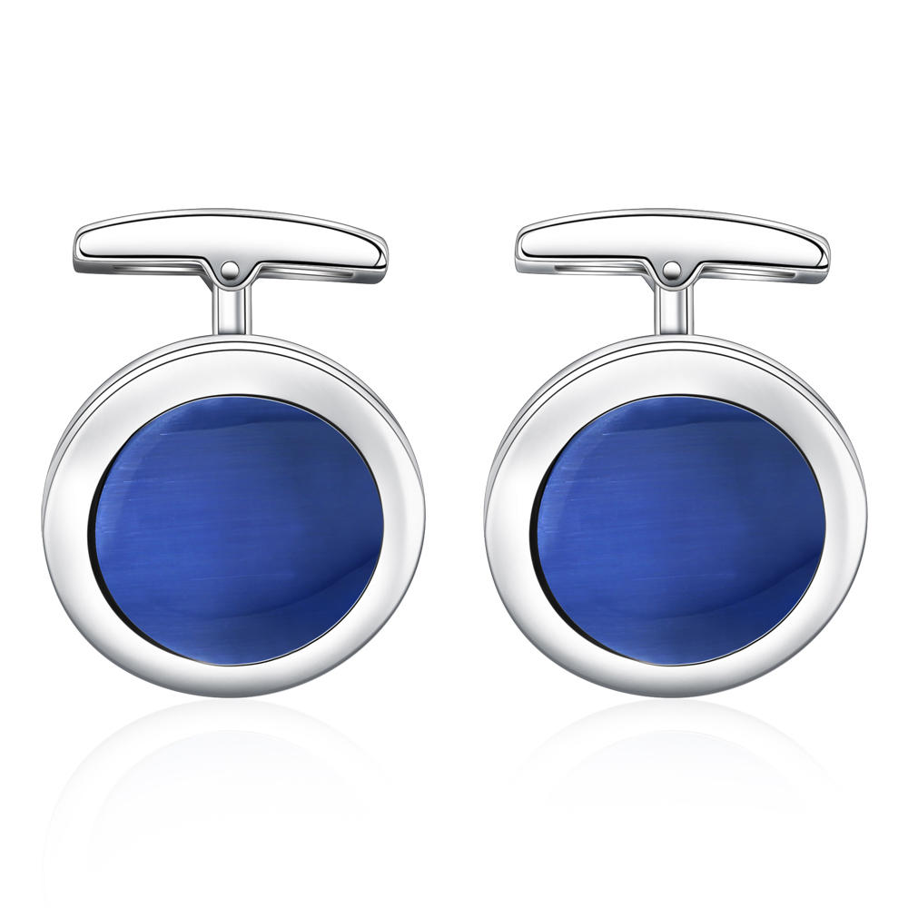 Round shape stainless steel blue shell cufflinks for men