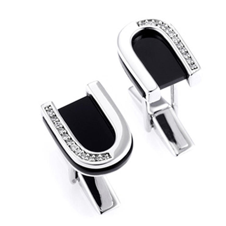 Fresh horseshoe shape design men love platinum cufflinks