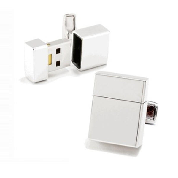 Wholesale square brass usb design white cufflinks
