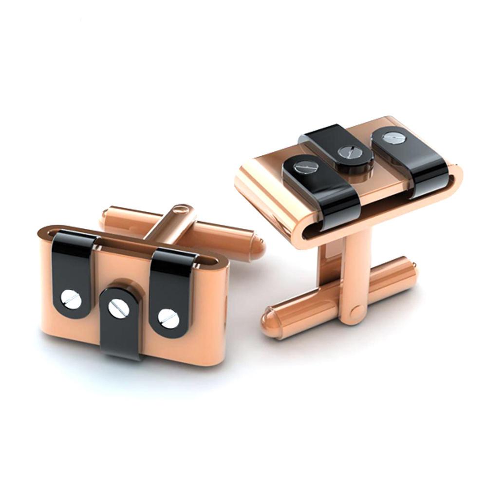Luxurious rectangle black shell metal golden cufflink for men