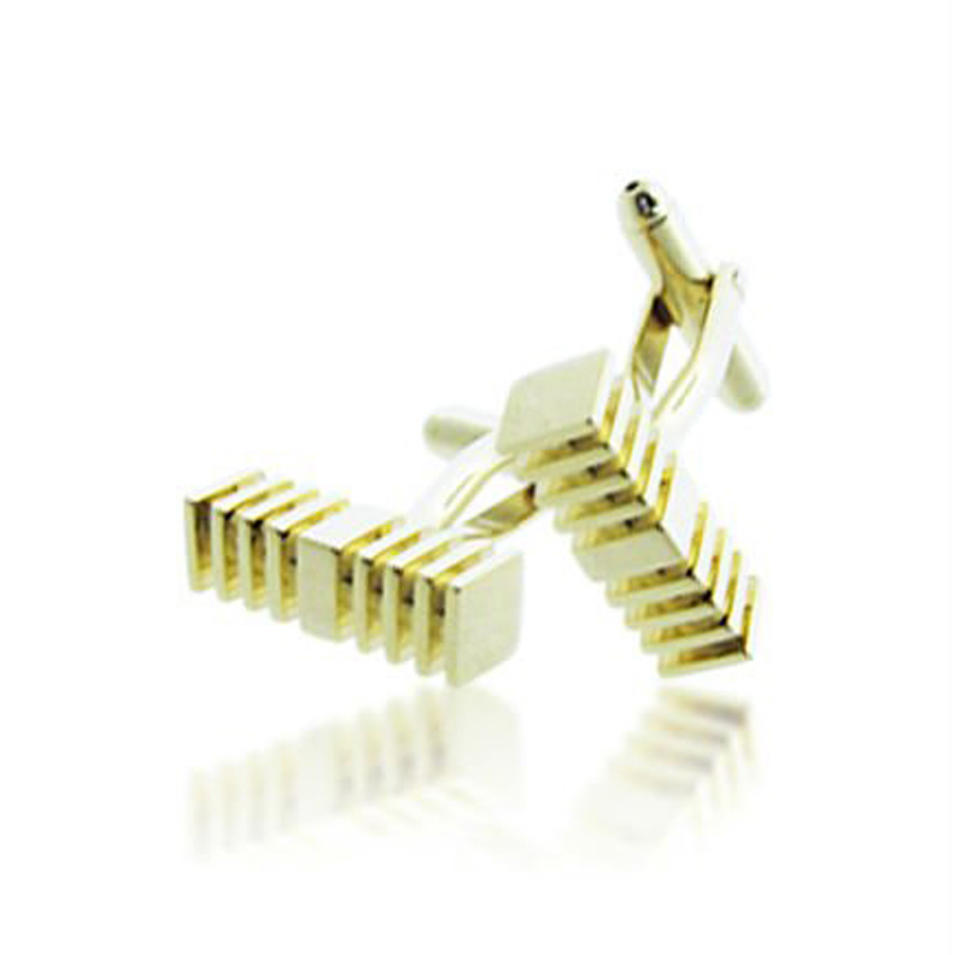 Yellow enamel shiny cube cuff link and tie clip set engraved