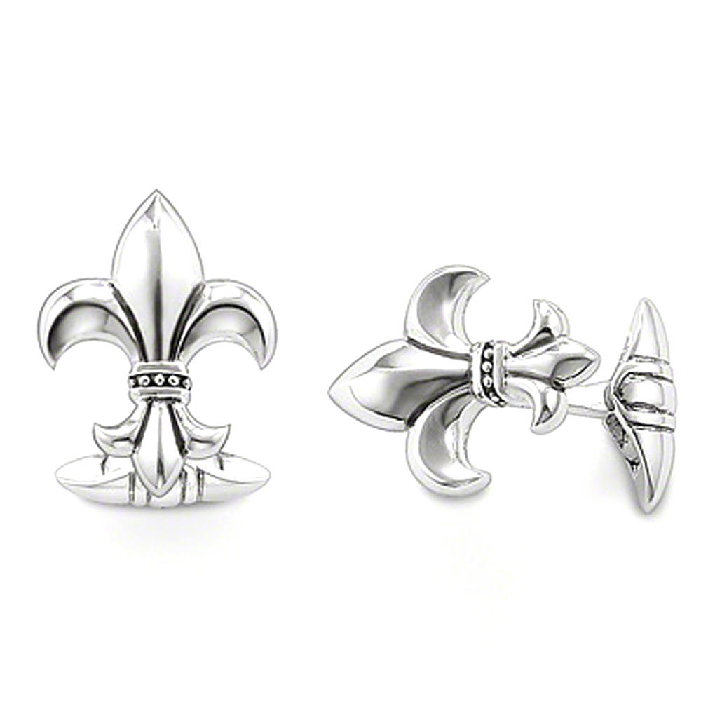Elegant beautiful anniversary mens fleur de lis cufflinks