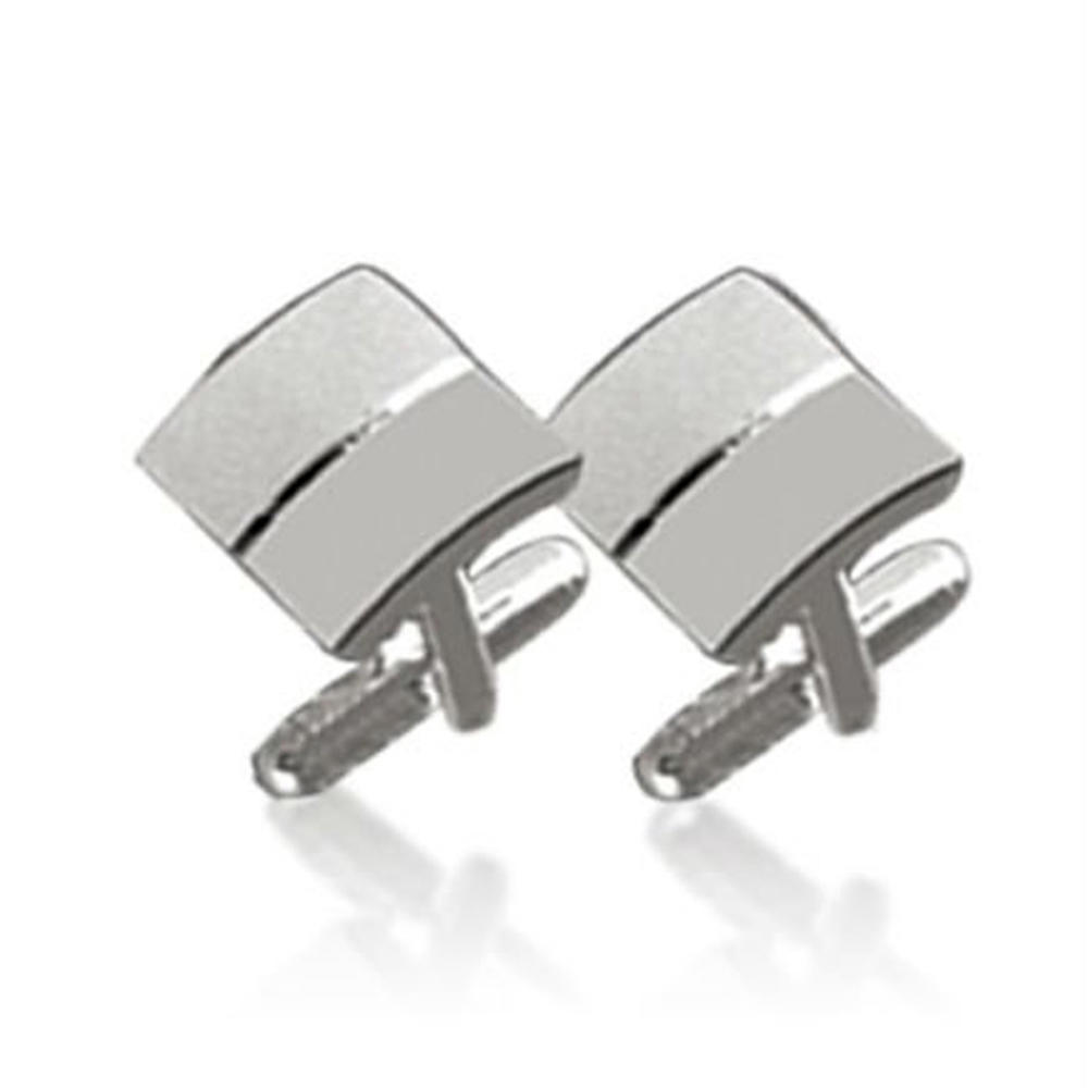 Square shiny silver wholesale four leaf clover cufflinks