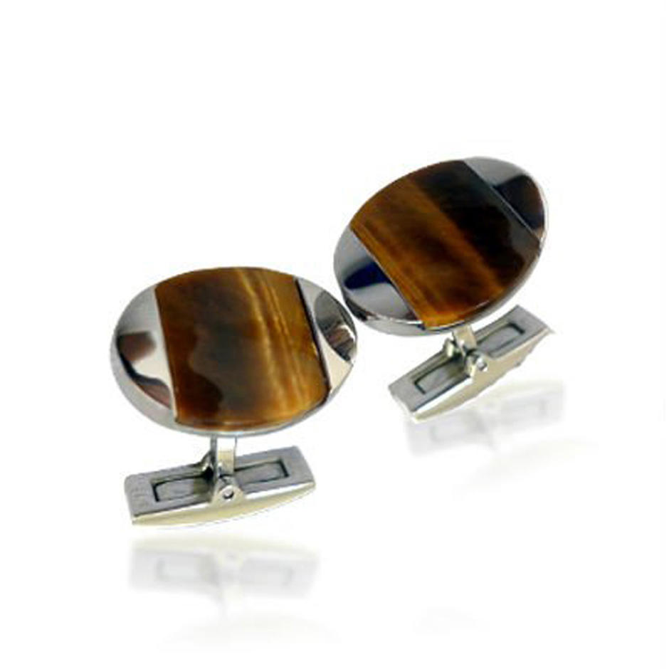 Wholesale cheap stainless steel wooden shell oval cufflinks