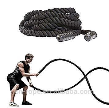 Polyester battle fitness ropes with molded handles