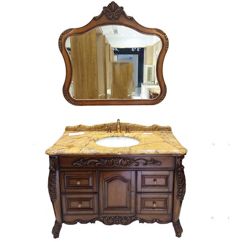 Retro European Style Bathroom Vanity Solid Wood Bathroom Cabinet American Solid Wood Bathroom Wash Basin Cabinet Combination