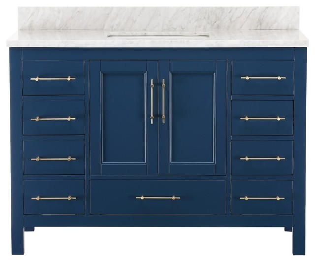 Quality high gloss simple readymade bathroom modern master bathroom vanity blue luxury bath vanity