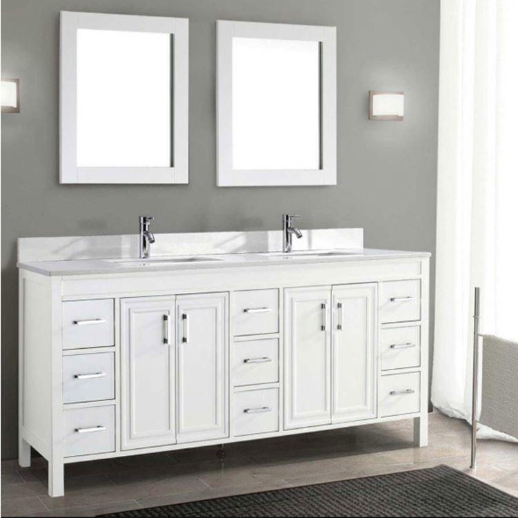 China Bathroom Furniture,Bathroom Vanities In White 2 Sink