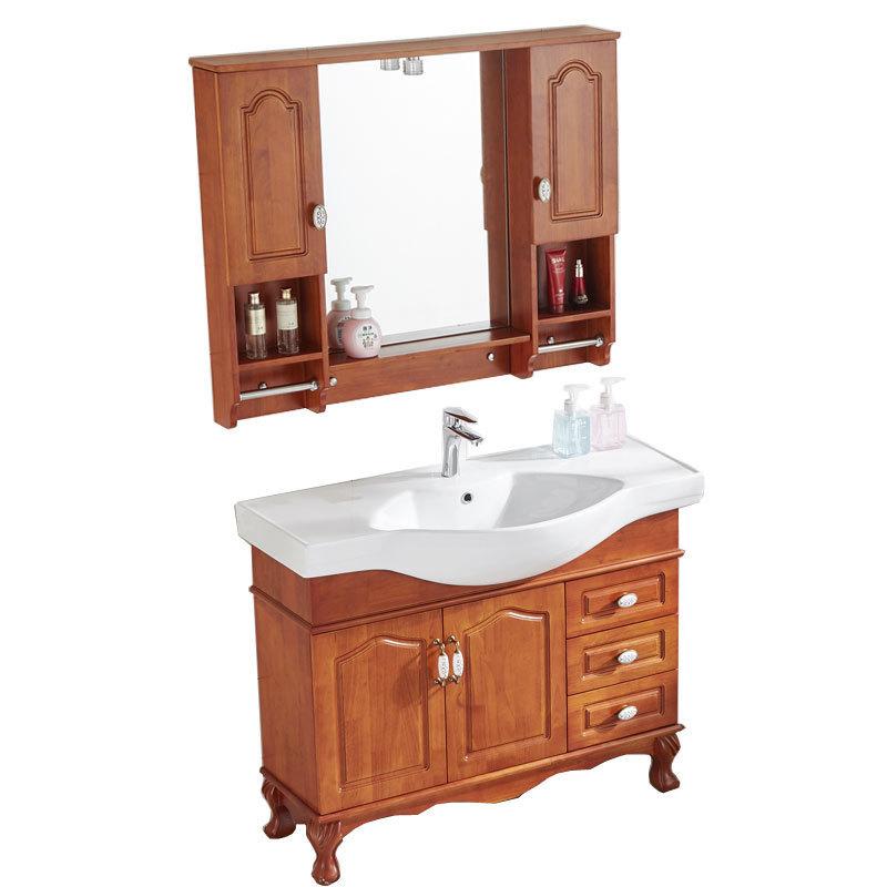 Floor-mounted solid wood bathroom cabinet combination wash basin European modern minimalist wash table