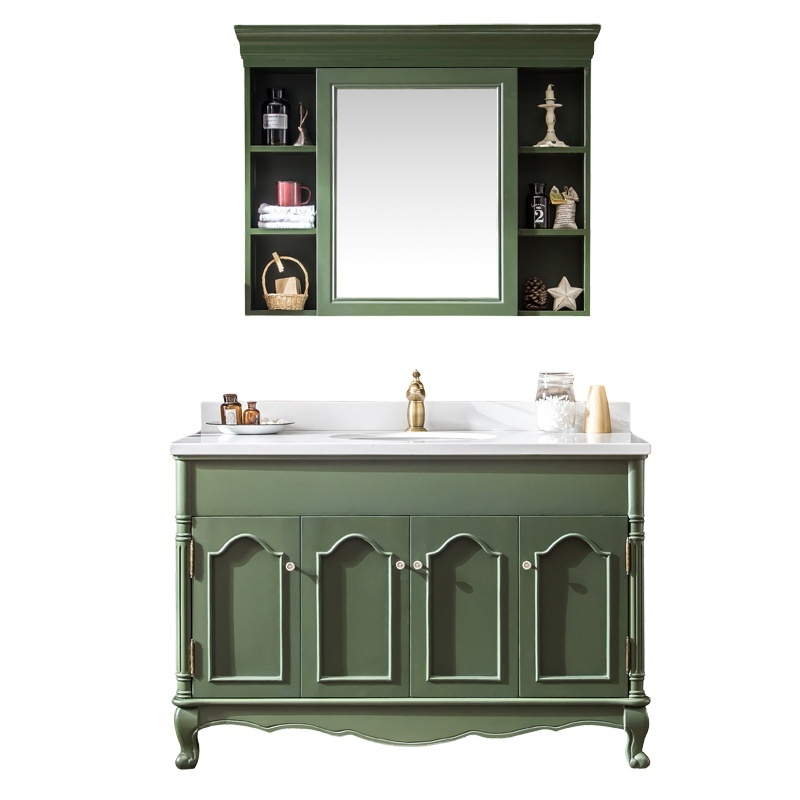 American Bathroom Vanity floor-standing solid wood light luxury combination wash basin French carved toilet storage cabinet