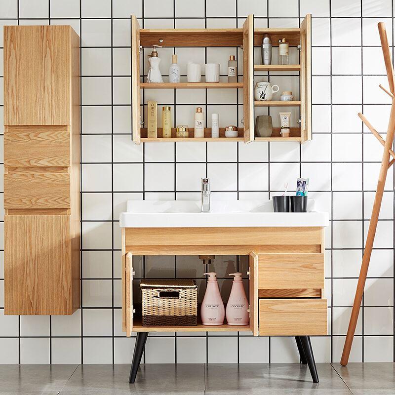 Multiple Styles Mirror Corner Modular Floor Mounted Antique Wood Bathroom Vanity