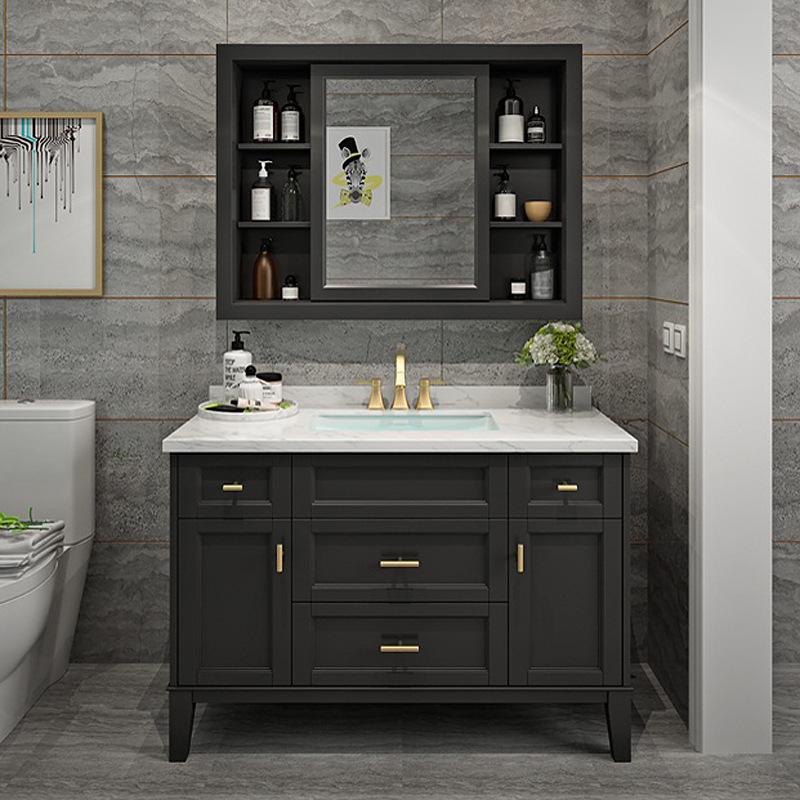 Simple American-style bathroom vanity Nordic solid wood bathroom washbasin cabinet combination light luxury bathroom cabinet