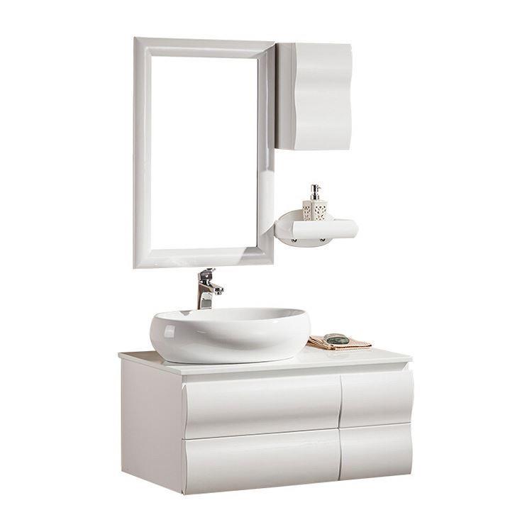 White Gloss Vintage Bathroom Vanity With Single Sink