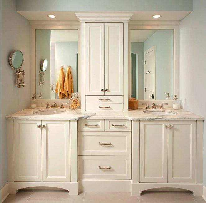 Custom Classic Commercial Double Sink Bathroom Vanity Cabinet