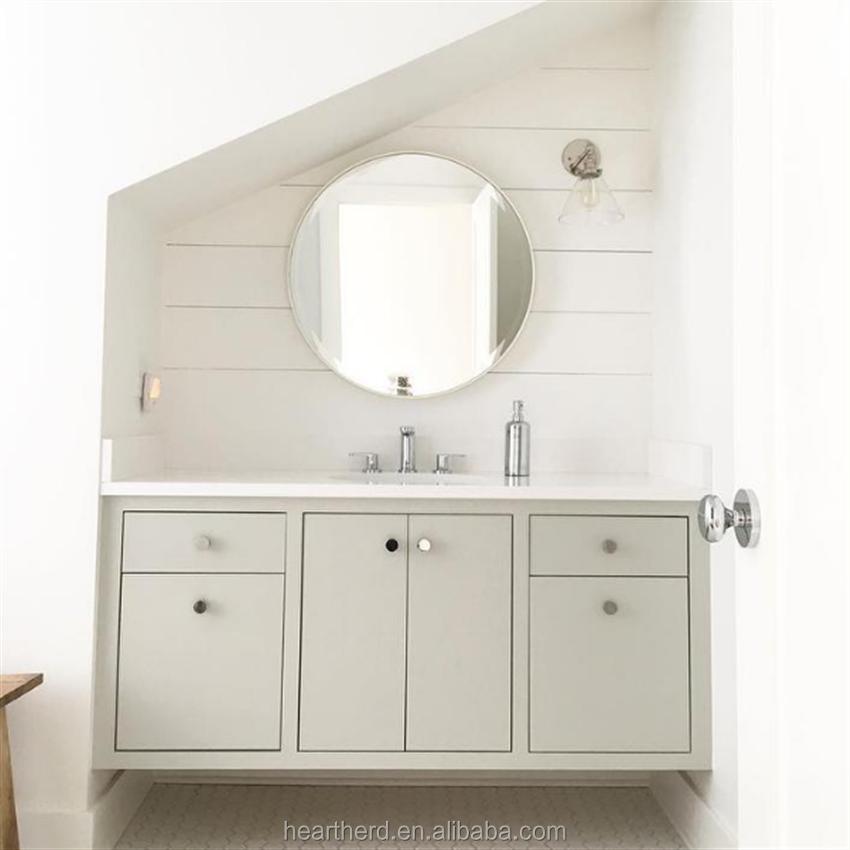 Modern Style Solid Wood PVC Bathroom Mirror Cabinet Vanity Furniture