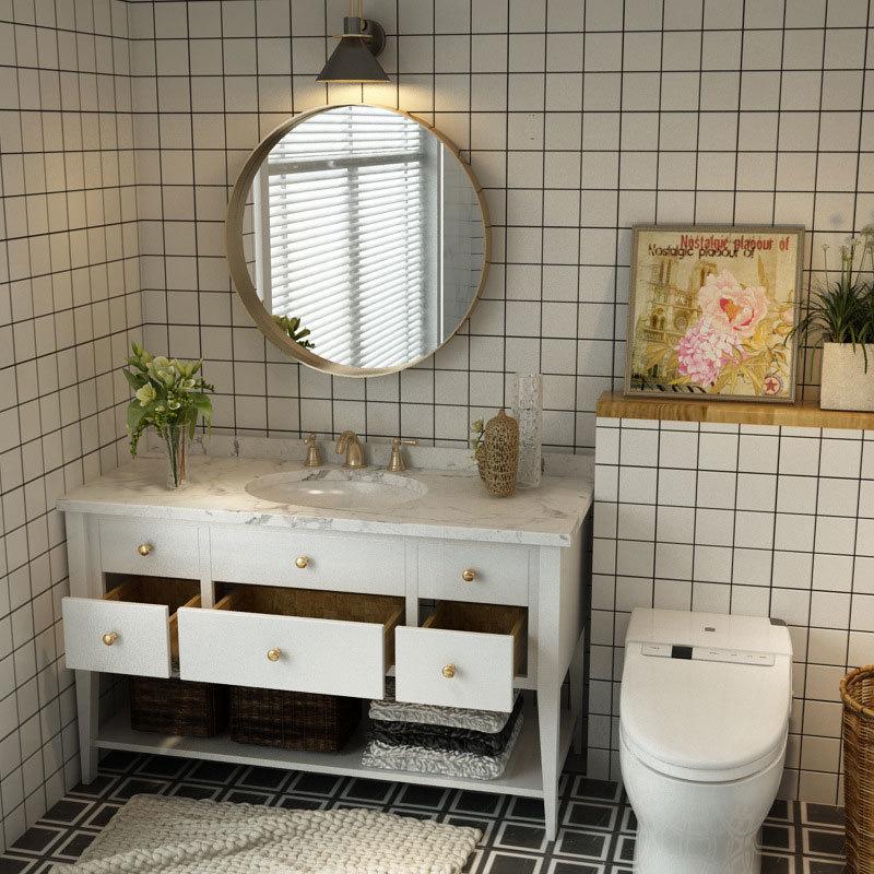 European style bathroom vanity combination round mirror solid wood floor American-style bathroom sinktoilet sink washbasin