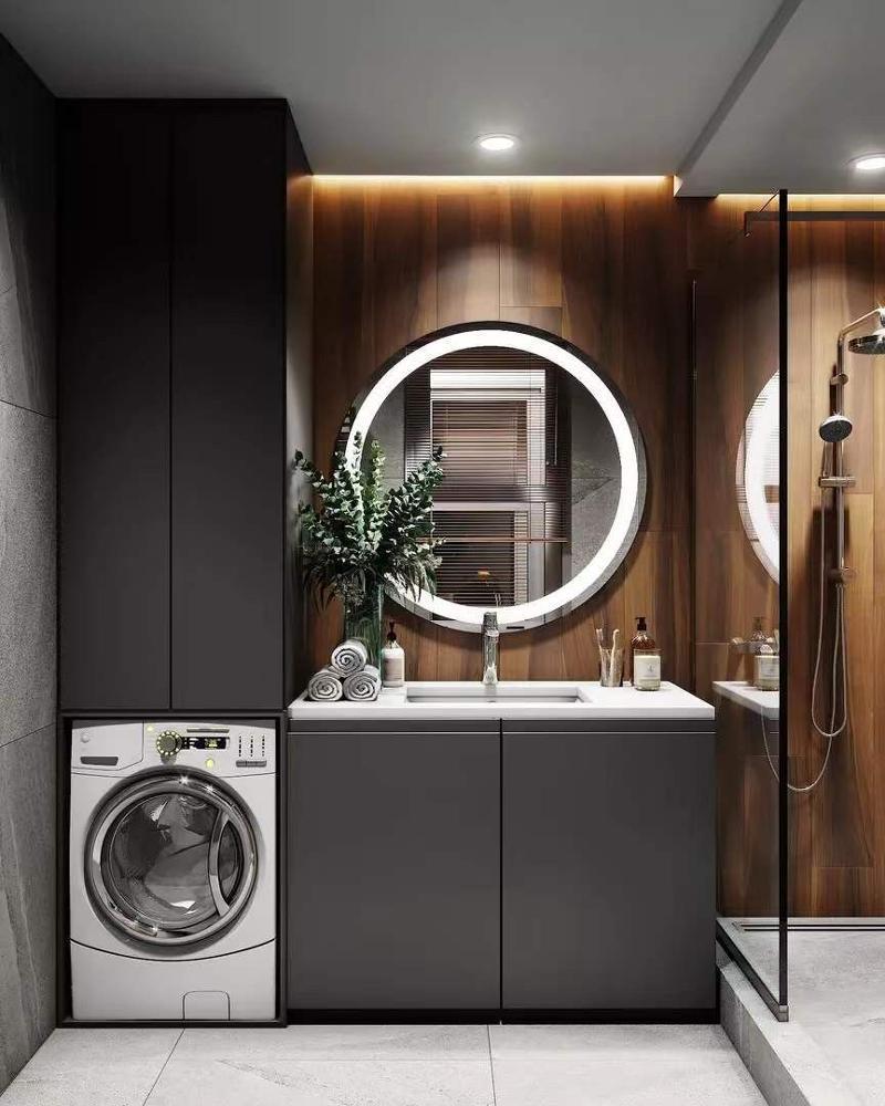 Modern Style Solid Wood Material Black Bathroom Vanity