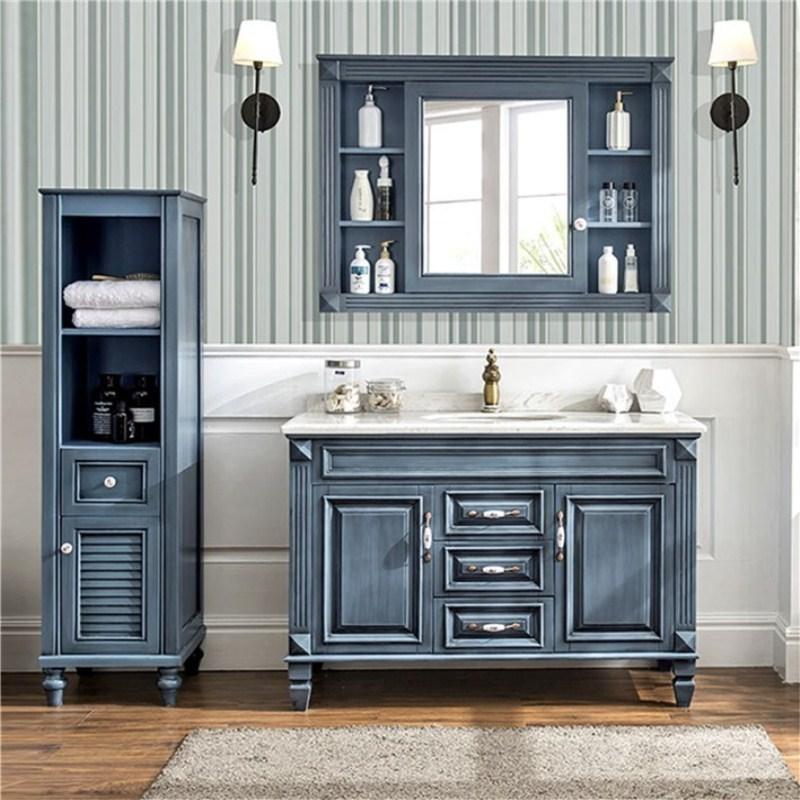 American solid wood bathroom vanity combination Mediterranean oak floor-mounted marble wash basin sink cabinet bathroom cabinet