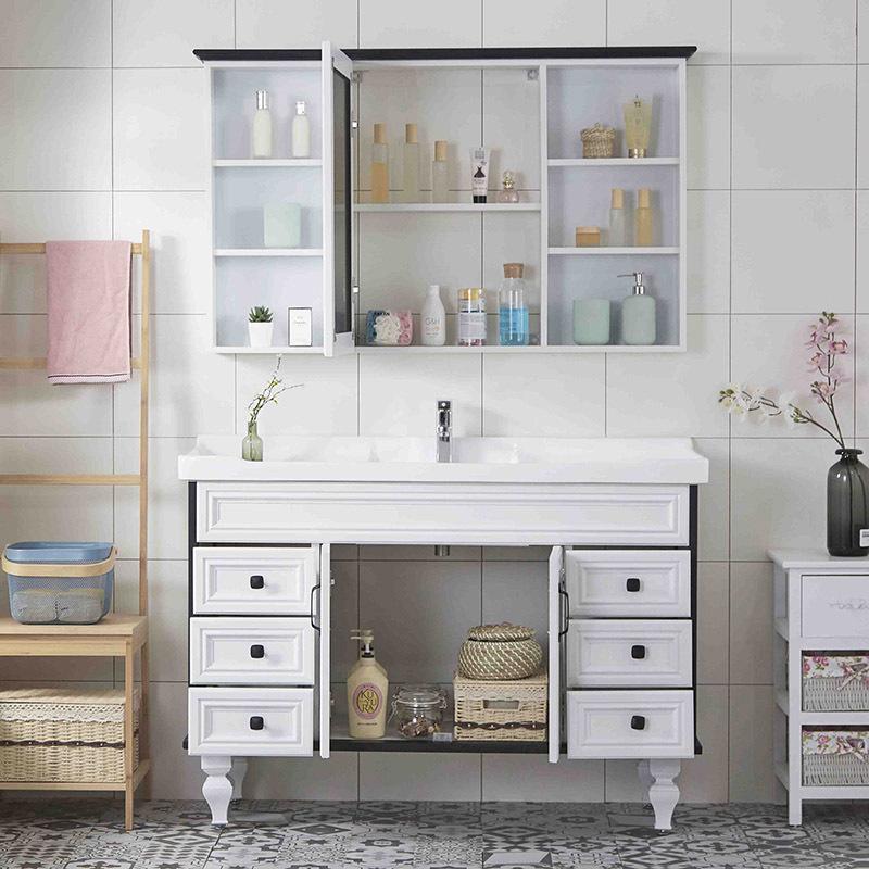 American carbon fiber floor-standing bathroom cabinet bathroom mirror box cabinet sink basin washbasin cabinet combination washs