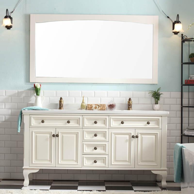 Combination floor bathroom vanity washbasin cabinet solid wood mirror cabinet American country double basin wash basin