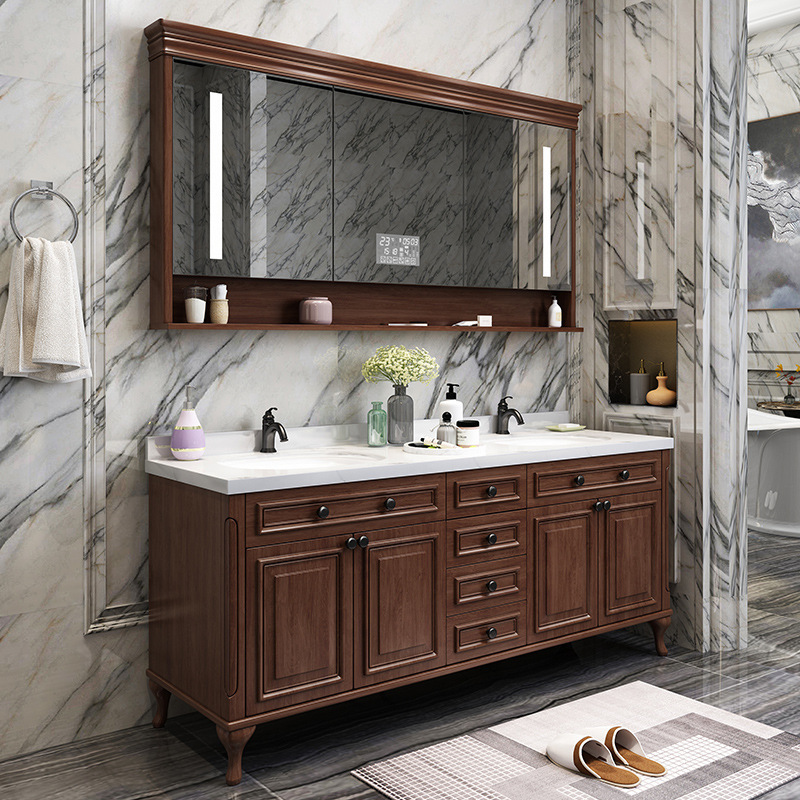 American bathroom cabinet floor solid wood bathroom cabinet smart mirror cabinet wash basin combination washstand