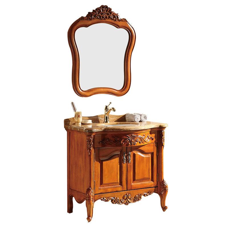 American bathroom vanity solid wood mirror cabinet washstand combination set floor cabinet oak cabinet