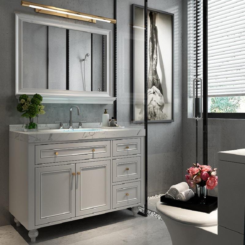 Nordic bathroom cabinet combination under the countertop round mirror American solid wood floor cabinet bathroom wash