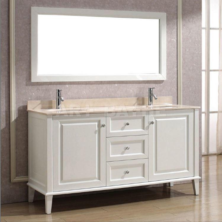 Modern White Bathroom Double Vanity Cabinet For Hotel