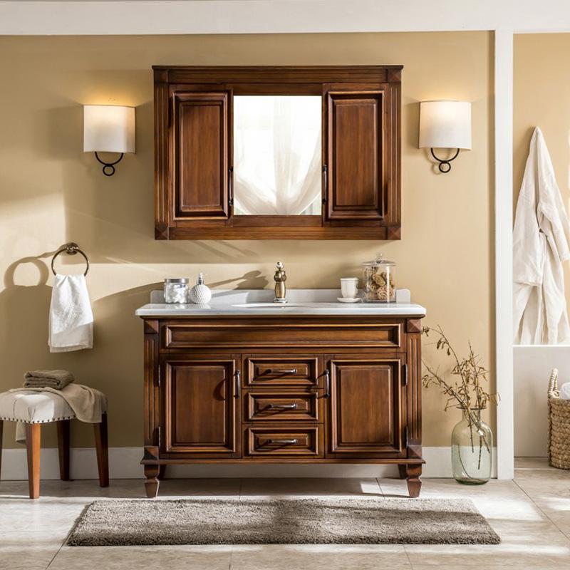 American bathroom vanity combination walnut color hidden mirror cabinet bathroom sink solid wood hand wash basin